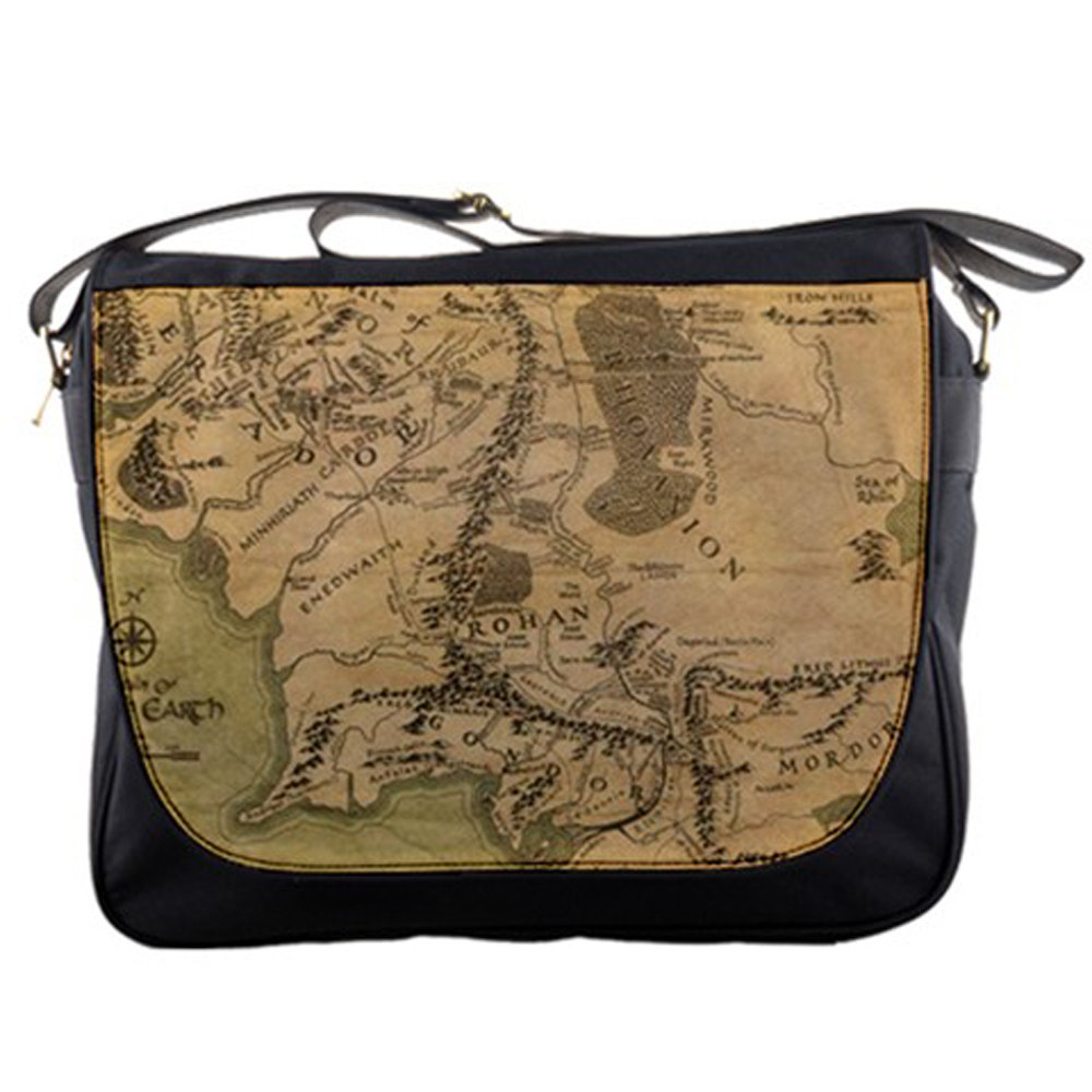 School bag new york - Map Of Middle Earth Realm Lord Of The Rings 14 Messenger Laptop Notebook Tablet Computer School Sling Shoulder Bag Handbag Tote Custom Made